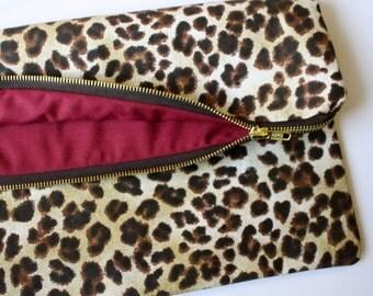 Leopard Fold Over Bag