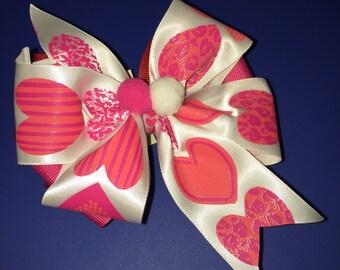 Pink Harts Hair Clip