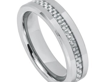 Men's Tungsten Carbide Grey Carbon Fiber Inly 6mm wedding band | Promise Ring | Anniversary Ring