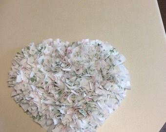 Handmade Rag Heart Wall Hanging  with Matching Heart Mat