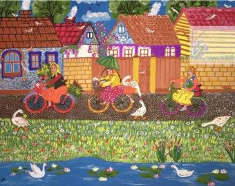 "Painting entitled ""To Market"", Naive Art, Slavic, Rustic, Pastoral, Folk Art"