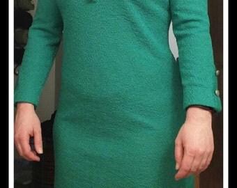 Vintage Mod 1960's Green Knit Tannel Dress