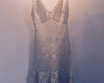 Vintage crochet backless dress