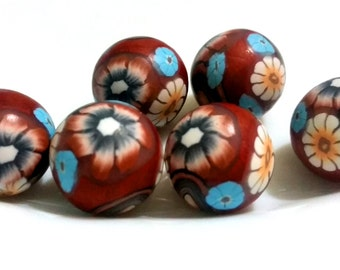 Polymer clay beads floral copper blue