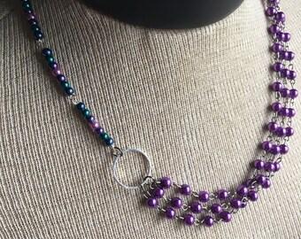 Multi colored beaded necklace - Purple