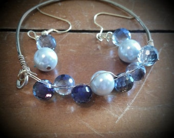Pearl and bead bracelet and earring set