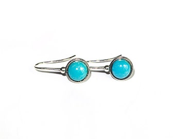 Robins egg blue Turquoise and Sterling Silver Earrings