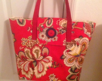 A gorgeous red tote bag