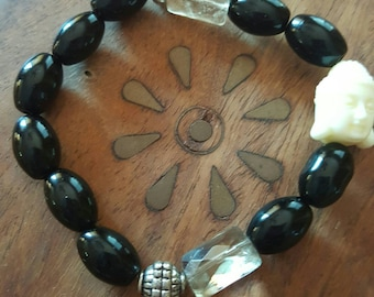 Black Onyx & Faceted Smokey Quartz Buddha Boho