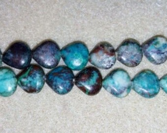 Chrysocolla beads teardrop beads blue stone beads brown stone beads blue and brown stone beads