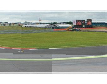 Silverstone British Grand Prix 2016, Club Corner onto International Pit Straight Hockney Inspired Formula 1 Panoramic