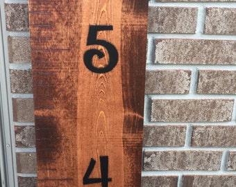 Handmade wooden growth chart