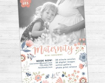 Mothers Day Mini Sessions, Mommy and Me Mini Session Template, Marketing Board, Photoshop Template, Photography Marketing Set