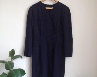 1940s-Style Navy Wiggle Dress Sz UK10-12