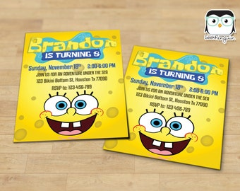 SpongeBob Invitation, SpongeBob birthday, Spongebob Party, SpongeBob printable, Spongebob card, Spongebob Digital