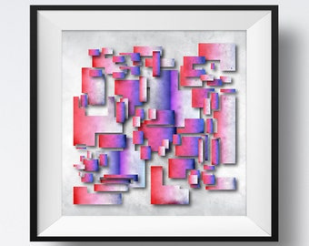 Floating Layers of Abstract Rectangles, Floating Abstract, Rectangle Art, Geometric Art, Floating Layers Art, Combined Rectangles