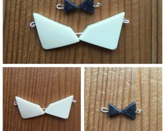 Bow tie necklaces - off-white resin bow tie - midnight sandstone bow tie - cute and quirky necklaces