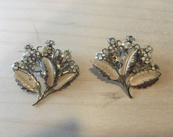 Vintage Silver Floral Clip On Earrings