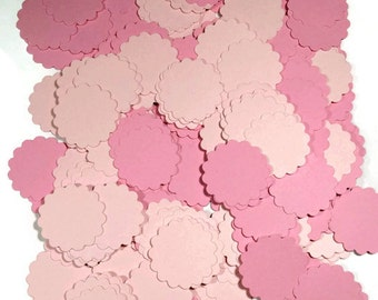 scalloped confetti pink table scatter party supplies pink circle confetti