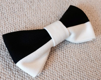 Black and White Hair Bow with Barrette