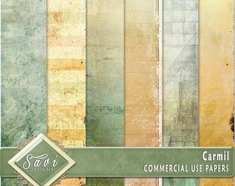 CU Commercial Use Background Papers set of 6 for Digital Scrapbooking or Craft projects CARMIL Papers, Designer Stock Papers