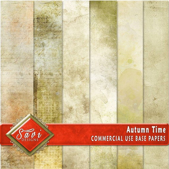 CU Commercial Use Background Papers set of 6 for Digital Scrapbooking or Craft projects AUTUMN TIME Base Papers, Designer Stock Papers