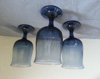 3 vintage blue wine glasses