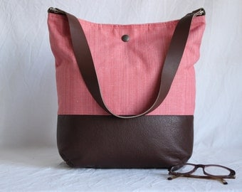 Shoulder bag leather and cotton one