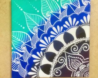 Blue Ombre Henna Canvas