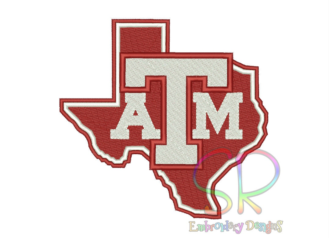 Size texas a m aggies embroidery designs college football