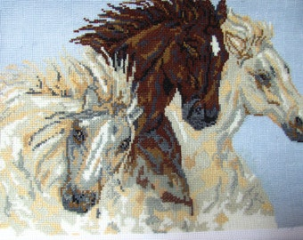 Hand Embroidery Finished cross stitch painting HORSES  Needlepoint Canvas art Embroidered picture 100% Handmade Home decor
