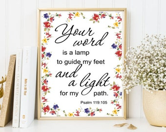 Your word is a lamp Psalm 119:105 bible verse scripture print framed quotes watercolor scripture wall art christian print quote