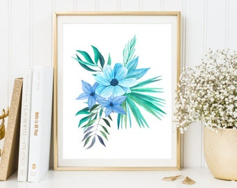Tropical Flowers print watercolor clipart floral wall art print printable watercolor poster blue green home decor