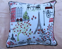 REDUCED Cushion Cover, Throw Pillow Cover, Decorative Pillow Cover, Square Pillow  White Background  Paris Scene 16 x 16 Red Trim