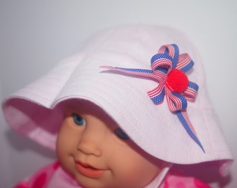 Baby Toddler Cotton Summer Sun Patriotic Hat Swimming American Flag 4th July Pink