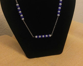 Grey and Blue Beaded Chain Necklace