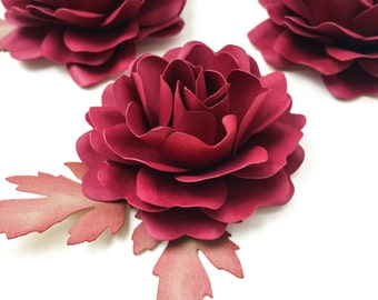 Paper Flowers-Loose Cardstock-Rose with leaf- Custom Colors-set of 12-Paper