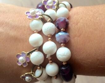 Trio of purple bracelets
