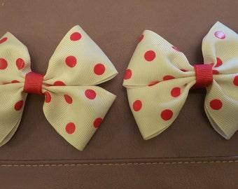 Pink and White Polka Dot Hair Bow