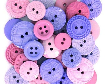 Assortment of 18 decorative color pink and lilac - pink - lilac button - 1177264 button buttons