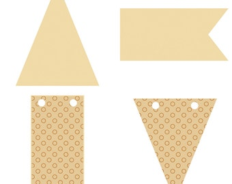 12 mini flags and wood - Silhouettes - Triangle wood Triangles silhouettes