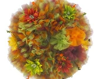 Fall Swirl Tulle Wreath -  Fall Wreath - Tulle Wreath - Seasonal Decor - Autumn Wreath - Front Door Wreath