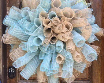 SkyBlue/Garland & Garland Deco Mesh Wreath