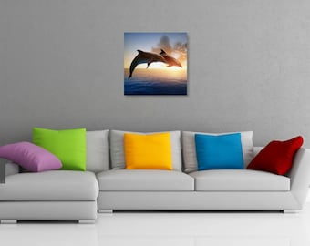 Dolphins Jumping at Sunset Printed Wall Art