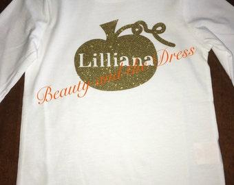 Infant/girl personalized glitter pumpkin shirt, glitter pumpkin name, pumpkin shirt, fall shirt, halloween shirt, thanksgiving shirt.