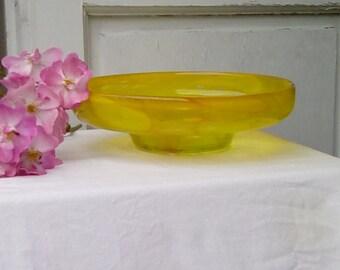 Vintage  Mdina glass bowl, unusual yellow colour