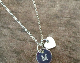 Disc Necklace Initial Necklace Personalized Jewelry Monogram Necklace Stamped Necklace Sterling Silver Necklace Charm Necklace Mothers Day
