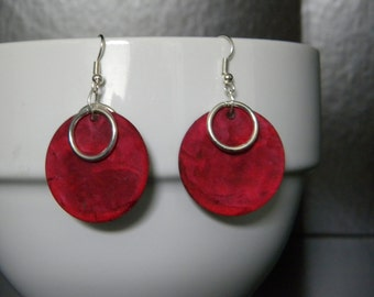Show Stopping Red & Silver Dangle Earrings