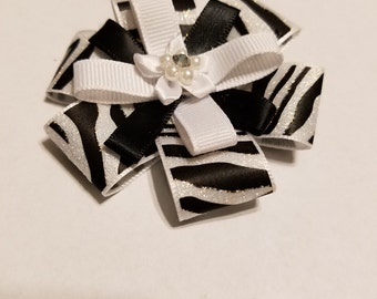 Zebra flat stacked hair bow