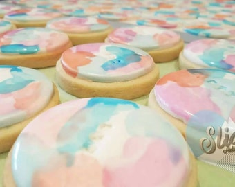 Watercolour edible fondant cupcake/cookie toppers
